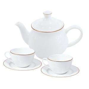 """Набор """"Goldi"""":две чайных пары и чайник в подарочной упаковке"""