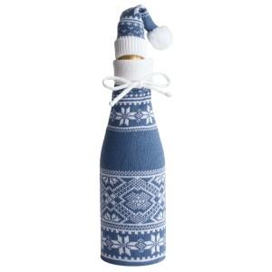 Чехол для шампанского «Скандик» с колпачком, синий (индиго)