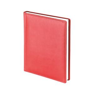Ежедневник недатированный Velvet, красный, белый блок, без обреза, ляссе