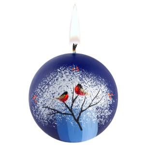 Свеча ручной работы «Снегири на ветке», в форме шара