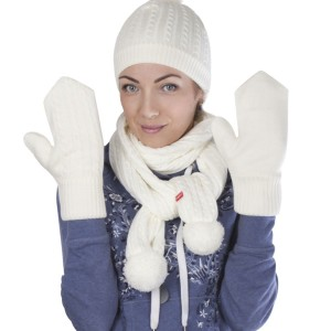 Варежки Comfort Fleece, молочно-белые