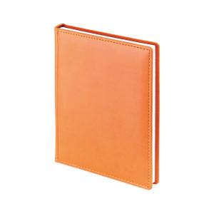 Ежедневник недатированный Velvet, оранжевый, белый блок, без обреза, ляссе