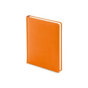 Ежедневник недатированный Velvet, А6+, оранжевый флюор, белый блок, без обреза, ляссе