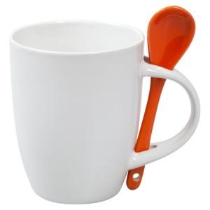 Кружка с ложкой, белая с оранжевой