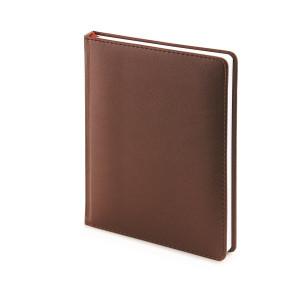Ежедневник недатированный Velvet, коричневый, белый блок, без обреза, ляссе