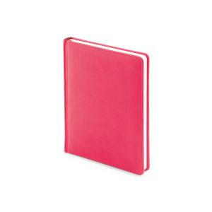 Ежедневник недатированный Velvet, А6+, розовый флюор, белый блок, без обреза, ляссе