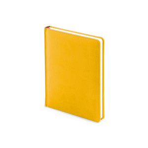 Ежедневник недатированный Velvet, А6+, желтый охра, белый блок, без обреза, ляссе