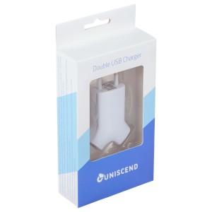 Сетевое зарядное устройство Uniscend Double USB, белое