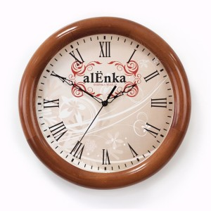Часы настенные с деревянным ободом