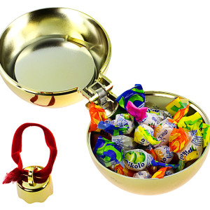 Елочный шар-шкатулка, блестящий металлик, золотой