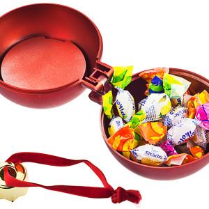 Елочный шар-шкатулка, матовый металлик, красный