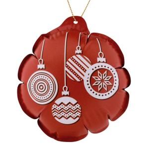 Новогодний самонадувающийся шарик, красный с белым рисунком