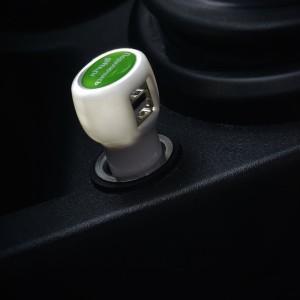 Автомобильное зарядное устройство с подсветкой Logocharger, черное