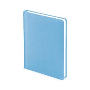 Ежедневник недатированный Velvet, голубой, белый блок, без обреза, ляссе
