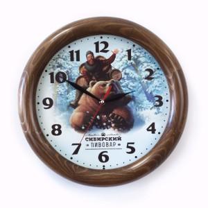 Часы настенные с деревянным ободом, «Орех»