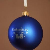 Елочный шарик с нанесением логотипа в 1 цвет. Тампопечать.
