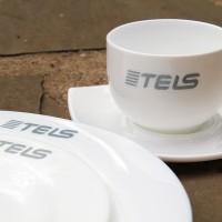 Нанесение лого на посуду для логистической компании Tels