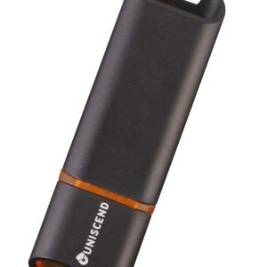Флешка Uniscend Slalom 3.0, черная с оранжевым, 16 Гб