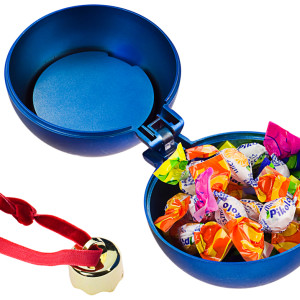 Елочный шар-шкатулка, матовый металлик, синий