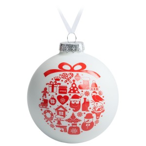 Елочный шар «Новогодний коллаж», 10 см, белый с красным