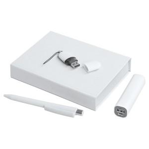 Набор Bond: аккумулятор, флешка и ручка, белый