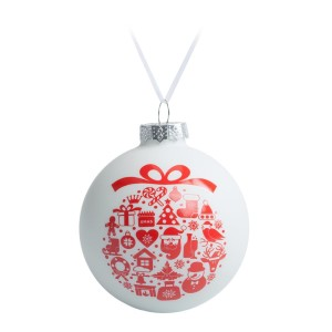 Елочный шар «Новогодний коллаж», 8, см, белый с красным