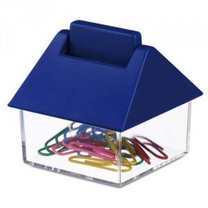 Скрепки разноцветные канцелярские в контейнере в виде домика