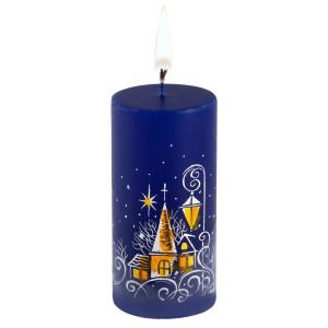 Свеча ручной работы «Ночной город», в форме цилиндра
