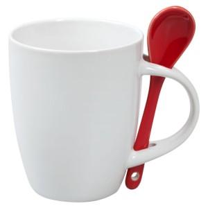 Кружка с ложкой, белая с красной